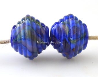 Glass Lampwork Beads Ribbed Bicone Pair - BLUEBIRD Handmade - TANERES - blue glass beads - lampwork bicone beads - ribbed lampwork