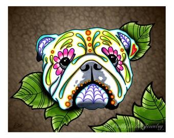 """English Bulldog - Day of the Dead Sugar Skull Dog 8"""" x 10"""" Art Print"""