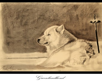 Artist trading card of Greenland dog