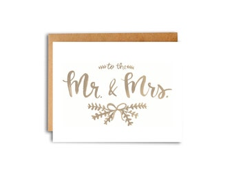 To The Mr. & Mrs. Watercolor Card Handlettered Handlettering