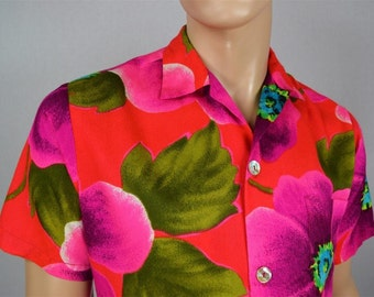Vintage 1960's PsYcHeDeLiC NEON Flower Andrade HaWaiiAN HiPPiE Barkcloth Shirt Loop Collar Size L