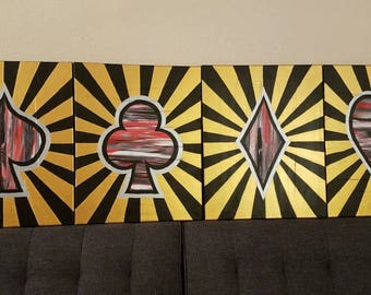 Or, noir, blanc, argent et rouge Las Vegas peintures sur toile, 16 x 20 pouces 4 Piece Set, Art mural, décoration murale, Art moderne