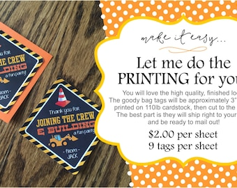 Printed goody bag/favor bag tags