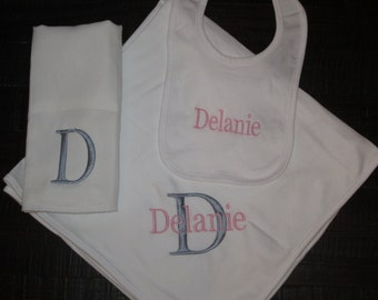 Monogrammed Blanket, Bib and Burp Cloth Gift Set - Personalized Gifts, Christmas Gift Idea