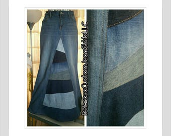 DELAROSA Long Jean Skirt 'Pieced and Patchwork' Custom Ordered To Your Size long jean skirt size0-2-4-6-8-10-12-14-16-18-20-22-24-26