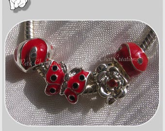 4 beads CHARMS MIX red SILVERED METAL for 10-12mm snake chain * H264