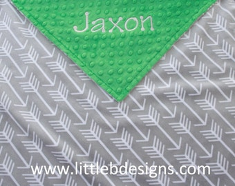 Personalized Minky Blanket - Gray Arrow Minky with Kelly Green Minky Dot - Baby Blanket