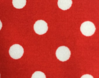 Red and white polka dot cotton fabric