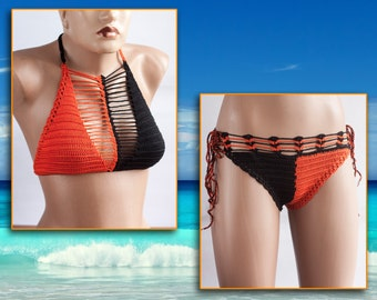 Ready to Ship - Crochet Black Bikini, Black Orange bikini set, Crazy sexy bikini, swimsuit California, Halloween