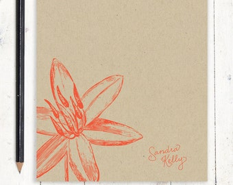 personalized notePAD - GARDEN LILY flower bloom - kraft notepad - stationery - stationary - floral - botanical - nature