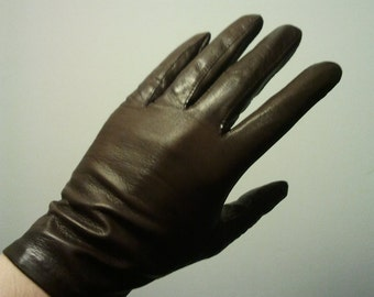 Vintage brown leather gloves 7 Great condition 1960