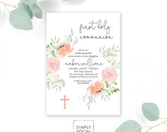 Floral First Holy Communion Invitation - Floral Communion Invite Baptism Invite Blush Peony Coral Pink Printable Invitation Religious Cross