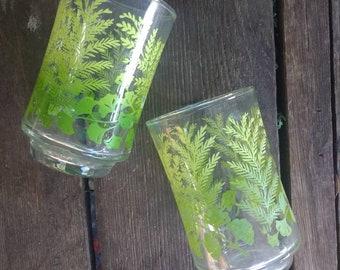 Vintage Libbey green leafed juice glasses