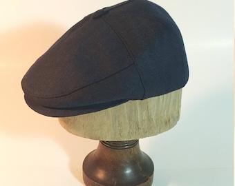 Driving Cap ,Navy Bleu Gabardine Fabric