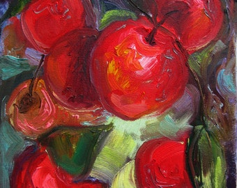 Fruit Oil Painting, Original Still Life, Red Apples on the Tree, Small Canvas 8 x 10""