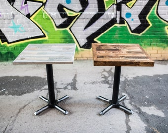 Reclaimed Wood Restaurant Or Bar Tables With Base, Cafe Table Tops, Pallet  Wood Handmade Tables In Toronto, Coffee Shop Table, 2 Seater