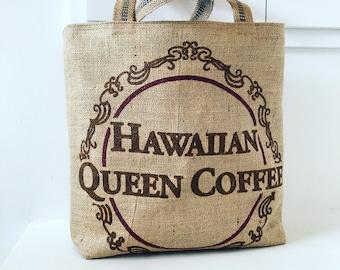 Hawaiian Queen Coffee Sack Tote / Beach Bag/ Market Bag