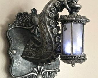 Tentacle Lantern Wall Plaque with LED Light Feature, Pewter Finish