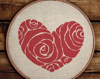 Get 30% off when you buy two or more patterns / Cross Stitch Pattern / PDF Chart Instant Download / Heart of Roses