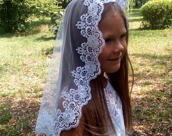 White Lace Mantilla First Communion Veil, First Holy Communion  Mantilla, Flower girl veils, Veil for Princess, Communion Accessory Catholic