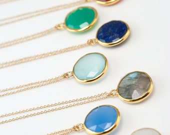 Gemstone Pendant - Gold Necklace - Layered necklace - Bridesmaid Necklace - Gold Framed Stone - Gift For Her - Round Stone Pendant