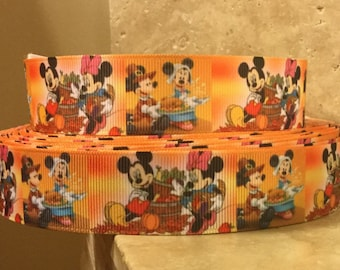 5 YDS Mickey Mouse and Minnie Mouse Thanksgiving Ribbon