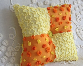 """Pillow Vintage Chenille Morgan Jones and Cabin Crafts  in Orange and Yellow 12 x 12"""""""