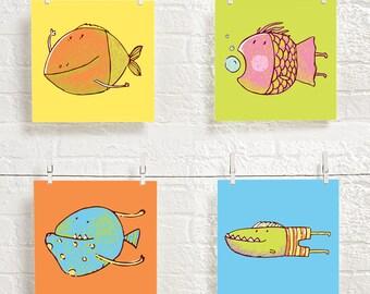 kids bathroom decor - bath prints for kids - bath digital prints - children's bath art - bath prints set - fish art - sea theme - printable