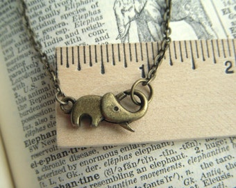 Tiny Elephant Necklace Antiqued Brass Elephant Clasp Trunk Up For Good Luck Handcrafted Steampunk Necklace Woman's Necklace Girl's Necklace