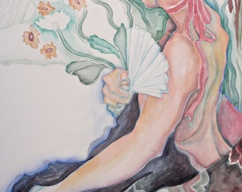 "Handmade, Fine Art, Painting in Watercolor, Original Artwork, "" Nude Woman with Pink Ribbon and Fan"""