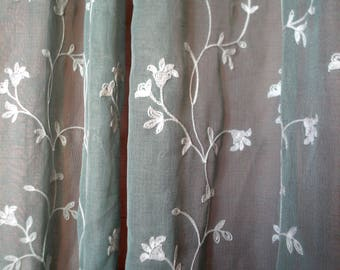 """Mint Green and White 100% Cotton Embroidery Grommet-Top Curtains  49""""W x 84""""L"""