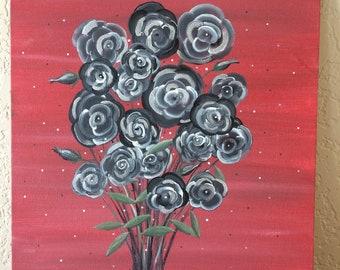 Black Roses Acrylic Painting