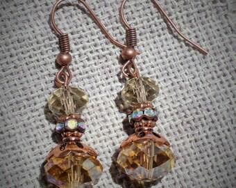 Tangerine Faceted Glass Bead Earrings