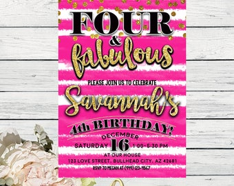 Four & Fabulous 4th Birthday invitation - Hot Pink and Gold glitter ***Digital File*** (Four-FabHotPink)
