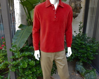 Vintage 1980's Rust Red Velour Pullover Shirt - Size Large