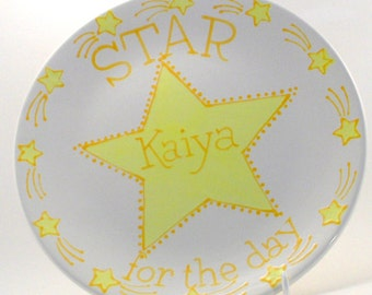 Star for the Day Plate - Personalized Special Day Plate - Special Occasion Plate - You Are Special Personalized Plate - Hand Painted Plate