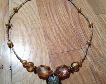 Valentine's Day White and Gold Lampworked Glass necklace