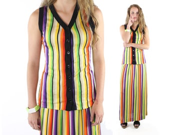 70s Maxi Skirt Vest Sleeveless Jacket NOS Rainbow Striped Knit Vintage 1970s Small S Hippie Boho Festival