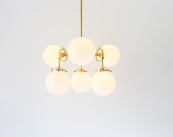 light chandelier modern ceiling brass for products century mid globe white globes prisma inch fixture clear