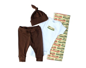 Baby gift set for newborn boy - Baby boy coming home outfit - Burp cloth, Onesie, leggings, knotted hat - Hospital outfit - Canoes