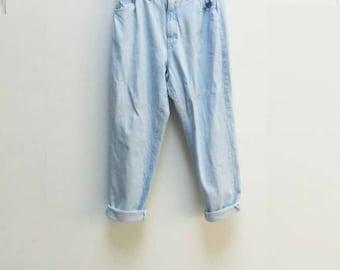 Lee Jeans Vintage Blue Denim Mom Jeans Lee Brand Jeans Women's High Waisted Mom Jeans Elasticated Waist Jeans Light Blue Wash Denim Trousers