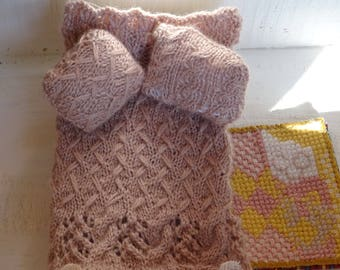 miniature scale 1/10 blanket and pillow silk and cashmere bedding and mat cross stitch