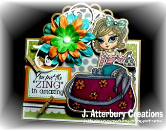 OOAK---The Zing in Amazing Card + Matching Envelope Box