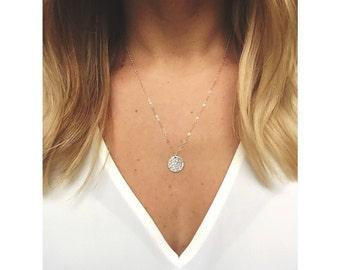 Hammered Disc necklace / Sterling Silver / 14k Gold Filled / Disc Necklace