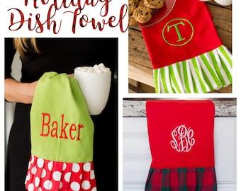 Christmas hand towel , personalized Christmas towel , monogrammed dish towel, kitchen towel , Christmas towel