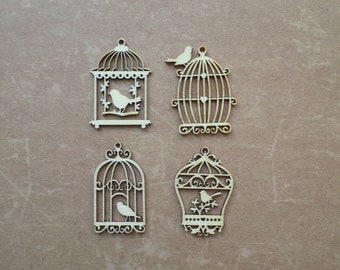 8 Deco wood embellishment Vintage Bird Cage