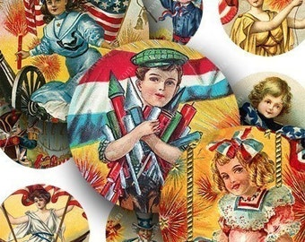 Victorian Fourth of July Postcards in 1.5-inch circles -- piddix digital collage sheet no. 589