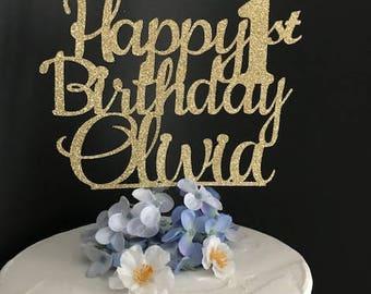 Any Name Any Age Happy Birthday Cake Topper, Custom Birthday Cake Topper, Birthday, 1st Birthday Cake Topper, Happy 21st Birthday Topper