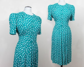 Teal print cotton Day Dress - 1980s - button front - L-XL