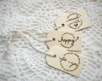 Hand Burned Wooden Gift Tags, Set of 3, Wood Gift Card, Reusable Gift Tag, Unique Gift Wrap
